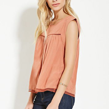 Contemporary Lace-Paneled Top | Forever 21 - 2000168422