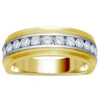 14K Yellow and White Gold .50 cttw Channel-Set Diamond Men's Milgrain Wedding Band