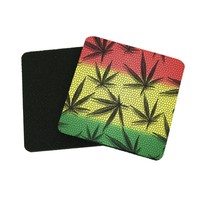 "3.5"" x 3.5"" Cannabis Weed Marijuana Ganja Coasters Made From Recycled Rubber"