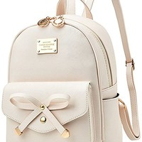 Girls Bowknot Fahsion Leather Small Backpack Mini Backpack for Women