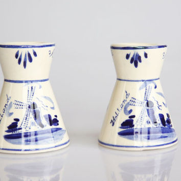 Delft blue windmill candle holders, blue willow decor, antique windmill candlesticks, vintage windmill home decor, Delft blue Holland decor