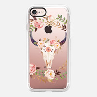 Boho iPhone 7 & 7 Plus Case (Watercolour Floral Bull Skull Pattern) by Casetify