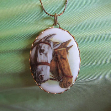 1970s Horse cameo, painted pendant necklace, vintage themed jewelry