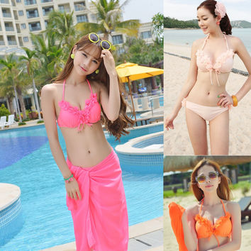 Womens Stylish Bikini With Matching Sarong Coverup Swimsuit