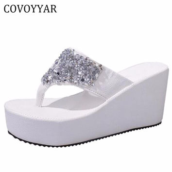 Summer Rhinestone Wedge Flip Flops Crystal Platform Women Pumps Sandals Slides Ladies Shoes Drop Ship WSS19