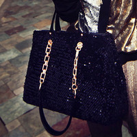 Real Leather Sequins Chain Tote