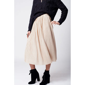 Beige pleated skirt with lurex