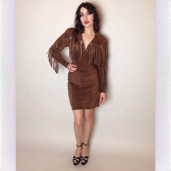 80's SUEDE MINI DRESS - fringe - concho accents - long sleeves - small