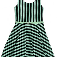 Striped Mesh Bow Back Dress
