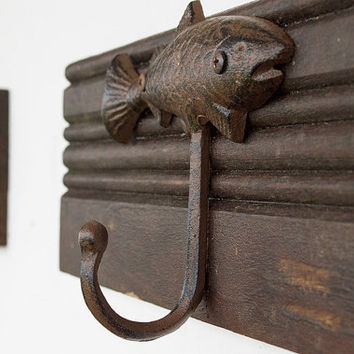 Fish Coat Hooks - 2 Cast Iron Hooks - Rustic Coat Hooks - Hat Hooks - Hunting Decor - Fishing Decor - Entryway Decor - Man Cave - Log Cabin