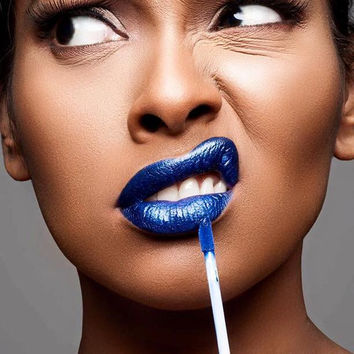 Futuristic Blue Semi Matte Mettallic Blue Liquid Lips