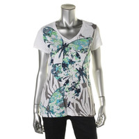 Style & Co. Womens Graphip Studded Pullover Top