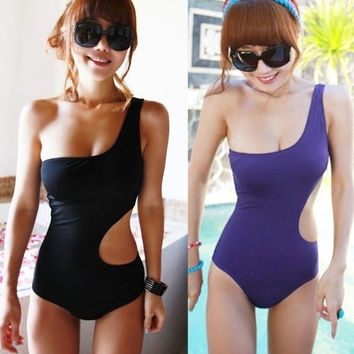 One Shoulder Sexy S Shape Monokini One Piece Bath Swim Swimsuit Bikini (M L XL) [XH] = 1956795908