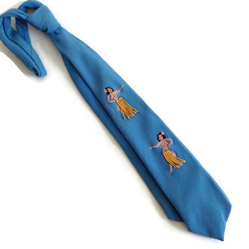 Vintage Necktie, 50's, Hula Dancer, Hand Painted, Fringe Skirts, Pin Up Girl, Blue and Gold, Retro Kitsch, Halloween Costume, Risque