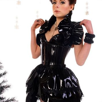 SLICK Pvc  Bustle Skirt  STEAMPUNK goth BURLESQUE