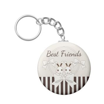 Cute Bunnies Classic Vintage Personalized Kids Keychain