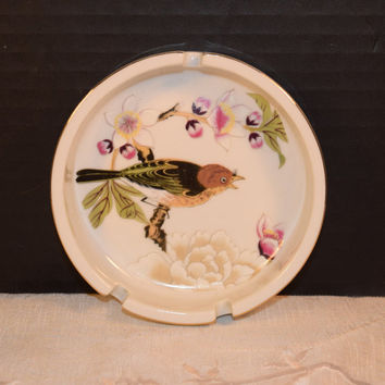 Shafford Chinese Garden Ashtray Vintage Bird Fine China Ashtray Gold Trim Made in Japan Decorative Ashtray Bird Collector Lover