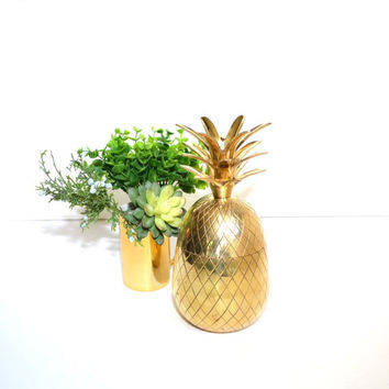 On  S A L E... Vintage Brass Pineapple Brass Pineapple Candle Holder Brass Pineapple Box Pineapple Trinket Dish Gold Pineapple Ananas Pina