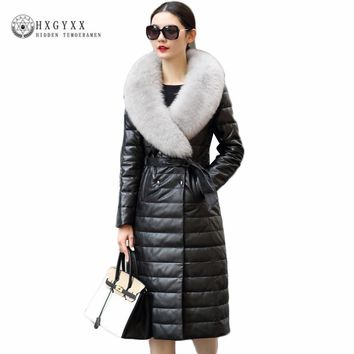 2018 Winter Women Genuine Leather Jacket Double Breasted Long Slim Fox Fur Parka Plus Size Warm Duck Down Sheepskin Coats Okb239