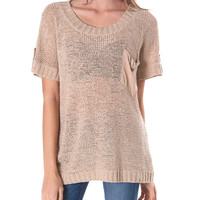 One Easy Day Short-Sleeve Knit Top - Taupe