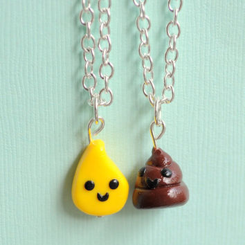 Kawaii Pee Drop and Poop Charm Best Friend Necklaces