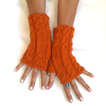 Free ship Alpaca wool orange halloween fingerless gloves cozy gloves cable gloves  armwarmers
