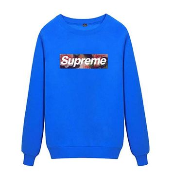 Supreme Round collar female loose couple costume Sweater Rose Blue