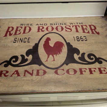 Primitive Red Rooster brand coffee stove board