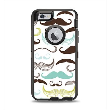 The Fashion Mustache Variety On White Apple iPhone 6 Otterbox Defender Case Skin Set
