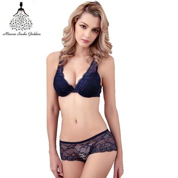 Sexy Underwear Women Push Up Lingerie Bra Four Row Four Buttons Deep V Three Quarters 3/4 cup  Side Closed Gather Lace Bra