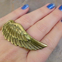 Feather Two Finger Ring Adjustable Brass Gold Feather