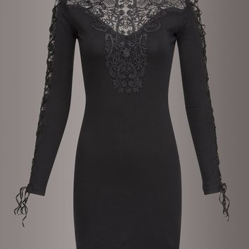 Lady in Black Lace Long Sleeve Dress by Punk Rave
