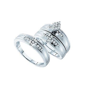 14kt White Gold His & Hers Round Diamond Cluster Matching Bridal Wedding Ring Band Set 1/3 Cttw
