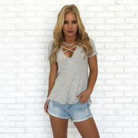 Gracie Cross Strap Top In Grey