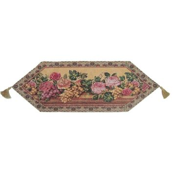 Romantic Parade of Fruit and Roses Floral Beige Pink Woven Place Mat Table Runners Cloths (14426)