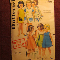 Uncut 1960's Butterick Sewing Pattern, 2651! Size 1 Infant/Toddlers/Girls/Quick n' Easy/Yoked Smock Dress/Pleated/Large Collar/Bloomers