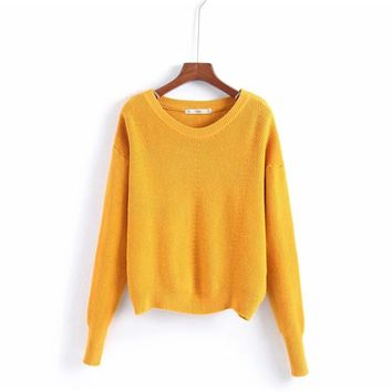 BINWEN15 2018 Autumn Sweater Women Striped Sweaters Pullover Female Clothing O-Neck Solid Sweater Knitting Pullovers