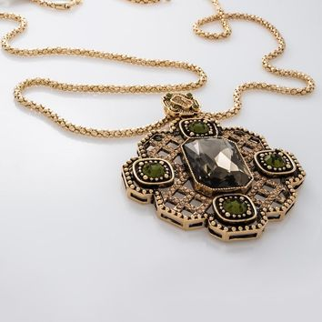 Antique Gold Pendant Adorned Crystals Necklace in 16K Gold Plated
