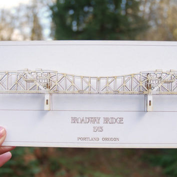 Architectural 3D Card of the Broadway Bridge Portland Oregon - Laser Cut Card