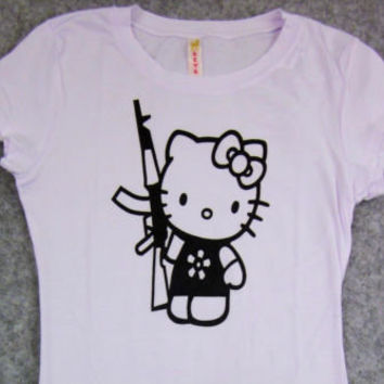 HELLO KITTY AK-47 Gun T-shirt Womens Juniors SzSmall Kitty White AK 47 Tee New  on eBay!