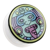 Glow in the Dark Multi Colored Mayan Single Flared Ear Gauge Plug