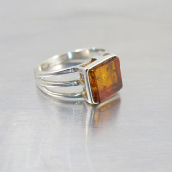 Russian Baltic Amber Ring, Modernist Sterling Silver Amber Ring, Antique Baltic Amber Sterling Silver Jewelry, Size 8