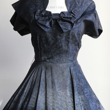Vintage 1940s Black Moire Taffeta Party Dress