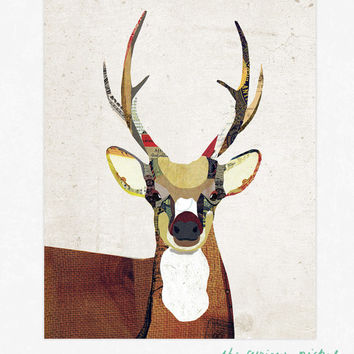 Deer Art Print - Deer Collage Poster Print - Fine Art Collage Illustration Print