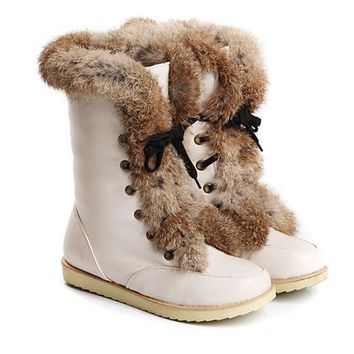 New Women Beige Flat Lace-up Faux Fur Patchwork Casual Ankle Boots