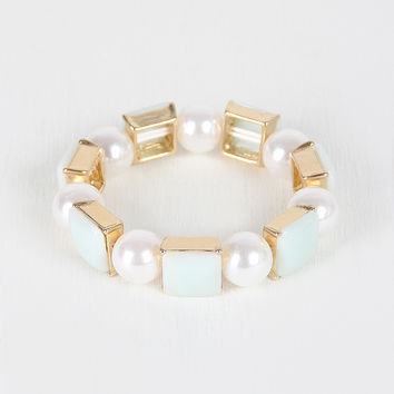 Faux Pearl And Square Bracelet