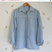Midsummer Sale 20% Off vtg 70's // lanvin shirt // light blue // collar // chambray // classic // top // blouse