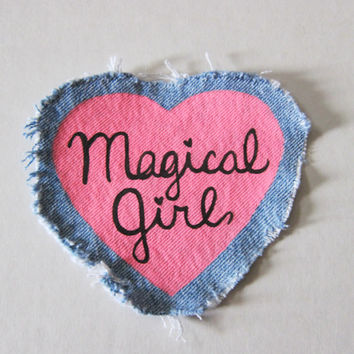 "Heart Shaped Shredded Denim ""Magical Girl"" Pink Sew-On Patch -- Girl Power, Riot Grrrl, Anime Girl Patch"