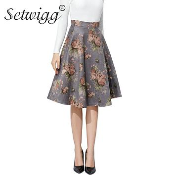SETWIGG Winter Vintage Floral Print Suede Flare Midi Skirts High Waist Zipper Velvet Knee Length Skater Skirts SG2921