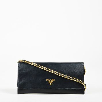 "Prada ""Nero"" Black Saffiano Leather Wallet on a Chain Flap Bag"